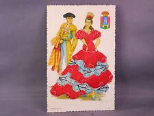 Vintage Spanish Silk Embroidered Post Card--unused