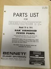 Bennett Parts Catalog Manual for the Model 70 70S RAM Submerged Power Pumps