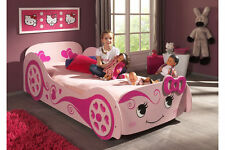 Kids childrens girls princess love car bed frame in pink - wooden 3ft single