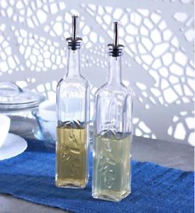 Set of 2 500ml Glass Oil & Vinegar Dispenser Cruet Bottle Pourer Spout Drizzler