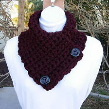 NECK WARMER SCARF Dark Burgundy Wine Red, Crochet Buttoned Cowl, Black Buttons