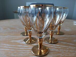 Lovely Set of 6 Vintage/Retro Gold Leaf & Stem Design Aperitif/Liqueur Glasses
