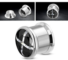 Flesh Plug Tunnel Vite Piercing Orecchio Acciaio Inox Cristallo Nero & Bianco