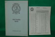 CHRISTIE'S catalogue ventes enchères de monnaies 1973 Old English Silver