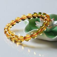 12mm Brazil Natural Yellow Citrine Quartz Crystal Beads Bracelet