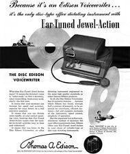 Thomas Edison Disc Voicewriter OFFICE DICTATING EQUIPMENT Jewel Action 1949 Ad