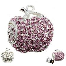Chiavetta USB 8 GB Mela Wurm rosa fucsia color-argento Strass Accessori Apple