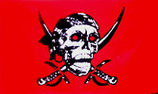 5Ft X 3Ft 5'X3' Flag Pirate Red Skull Cross Sabres Pirates Of The Caribbean