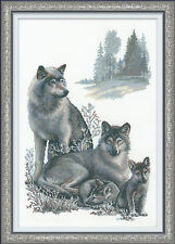 "Wolf Family Cross Stitch Kit - Riolis - 15.75"" x 23.5"" (R100/021)"