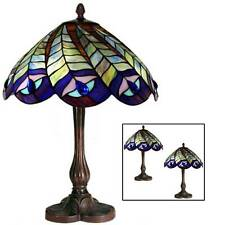 43cm Tiffany Style Peacock Table Lamp 30cm Glass Shade Bulb Buy 2 Save 10