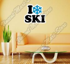 "I Love Ski Giant Slalom Skiing Speed Wall Sticker Room Interior Decor 22""X22"""