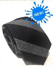 "Mens Express Neck Tie Slim Skinny Narrow Wool Silk Black Gray 2.75"""