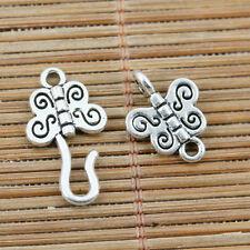 14 conjuntos de 2 caras de la mariposa de plata tibetana Gancho Enlace Palanca Cierre EF2267