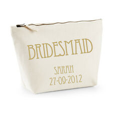 Personalised Bridesmaid Make-up/Wash Bag - Gold/Vintage - Gift/Wedding Favour