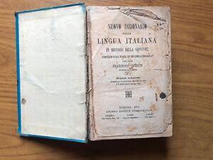 NUOVO DIZIONARIO DELLA LINGUA ITALIANA FRANCESCO CERRUTI TORINO 1913