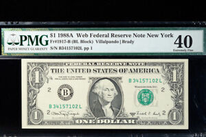 "$1 1988 A ""Web Note"" New York BL block PMG 40"