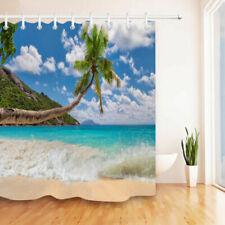 Tropical Beach Sea wave Waterproof Fabric Shower Curtain Set Bathroom Free Hooks
