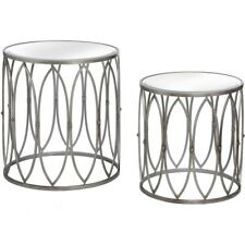 SET OF TWO SILVER TABLES WITH COPPER STUD - CAN BE USED AS COFFEE TABLES.