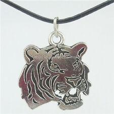 """Animal Tiger Head Pendant Alloy Antique Silver 16"""" Collar Choker Necklace 14967"""