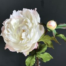 Large White Peonies with Bud Realistic Artificial Luxury Faux Silk Peony Flowers
