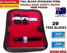 Genuine Mens Safety Razor Double Edge Razors + 20 Free Blades & Pouch travel kit