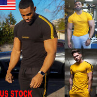 Mens Muscle Fitness Quick Dry Slim Fit Tee Workout T-Shirt Athletic Bodybuilding