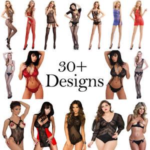 Lingerie Lace Babydoll Bra Sexy Open Crotch Bodystocking Nightwear Sex Set Women