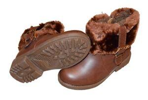 Trendige Gefütterte Mädchen Stiefeletten Stiefel Lederoptik Fell Reißverschluss