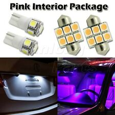 4x Pink Purple Led Interior Lights Package Map Dome Bulb, 2x License Plate Light