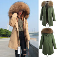 100% REAL Raccoon Fur Collar Hooded Coat Women Winter Parka Warm Long Jacket