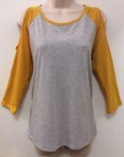 NWT*Hybrid Apparel~XL~Cold Shoulder 3/4 Sleeve Grey/Yellow Cotton/Poly Tee/Top