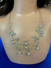 """Necklace 20"""" Triple Strand Cultured Pearl and Swarovski Crystal Beads Handmade"""