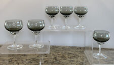 "(6) Sasaki Coronation Smoke Gray Champagne Glass Glasses Sherbets 4.5"""