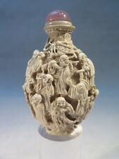 ANCIENNE BELLE TABATIERE CHINOISE EN CERAMIQUE PERSONNAGES DRAGON CHINE CABOCHON