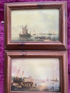 2 nautical watercolour style pictures in wooden frames