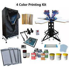 4 Color Screen Printing Press Kit  Drying Cabinet Exposure Unit & Hand Tools