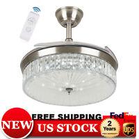 """42"""" Crystal Ceiling Fan Lights LED Dimmable Chandelier Retractable Fan w/ Remote"""