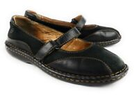 Born Black Leather And Suede Mary Jane Flats Shoes Hand Crafted Women's 7.5