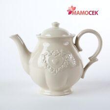 Ceramica ECRU' TEIERA CUORE h18 bomboniera cucina porcellana Shabby Provenzale