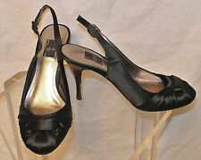 Glint Black Satin Patent Leather Heel Slingback Shoe-Leather Sole & Lining-6 1/2