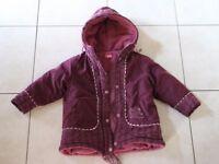 manteau doudoune fille 2 ans violet prune