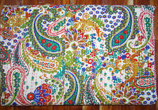 Kantha Quilt Twin Size Bedcover Cotton Bedsheet Paisley Bedspread Blanket Ralli
