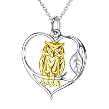 18K Gold Charm Owl Perching On Branch Heart Necklace Pendant 925 Sterling Silver