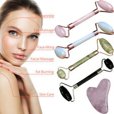 Ladies Natural Rose Quartz Facial Neck Body Jade Stone Roller Face Massage Hot