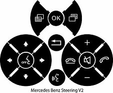 Mercedes Benz Matte Black Steering Wheel Button Repair Stickers Decals