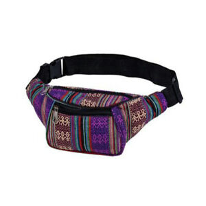 PURPLE PATTERN CANVAS 2 POCKET BUM BAG (FANNY PACK)