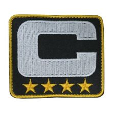 Black Captain C Patch 4 Gold Stars Sports Jersey Embroidered Hook Loop Patch