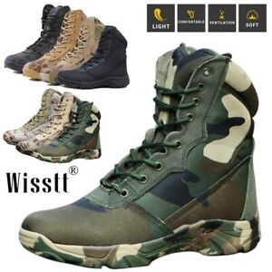 Men's Outdoor Jungle Tactical Mid-Ankle Wide Work Patrol Military Hiking Boots