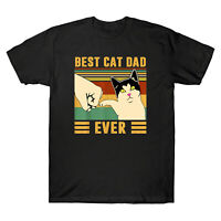 Best Cat Dad Ever Colorful Funny Cat Lover Vintage Men's T Shirt Cotton Tee
