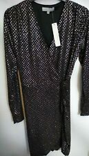 New RED HERRING black glitter wrap dress size 8 ref rail